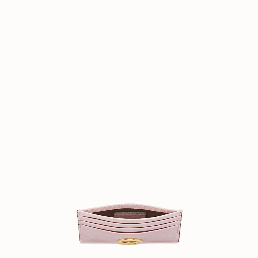FENDI CARD HOLDER - Pink leather flat card holder - view 4 detail