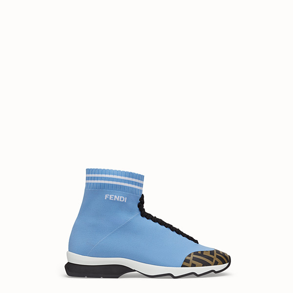 FENDI SNEAKERS - Pale blue fabric sneaker boots - view 1 small thumbnail