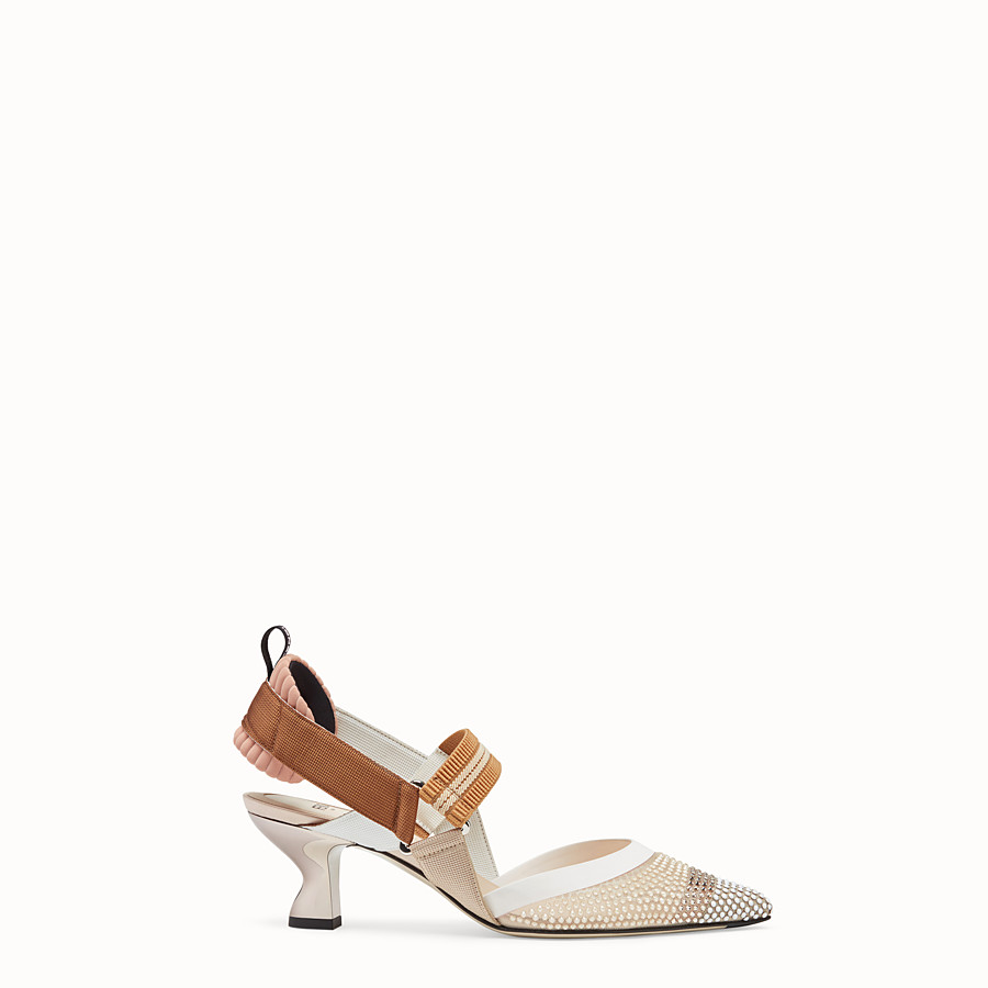 FENDI SLINGBACKS - Colibrì in beige mesh - view 1 detail