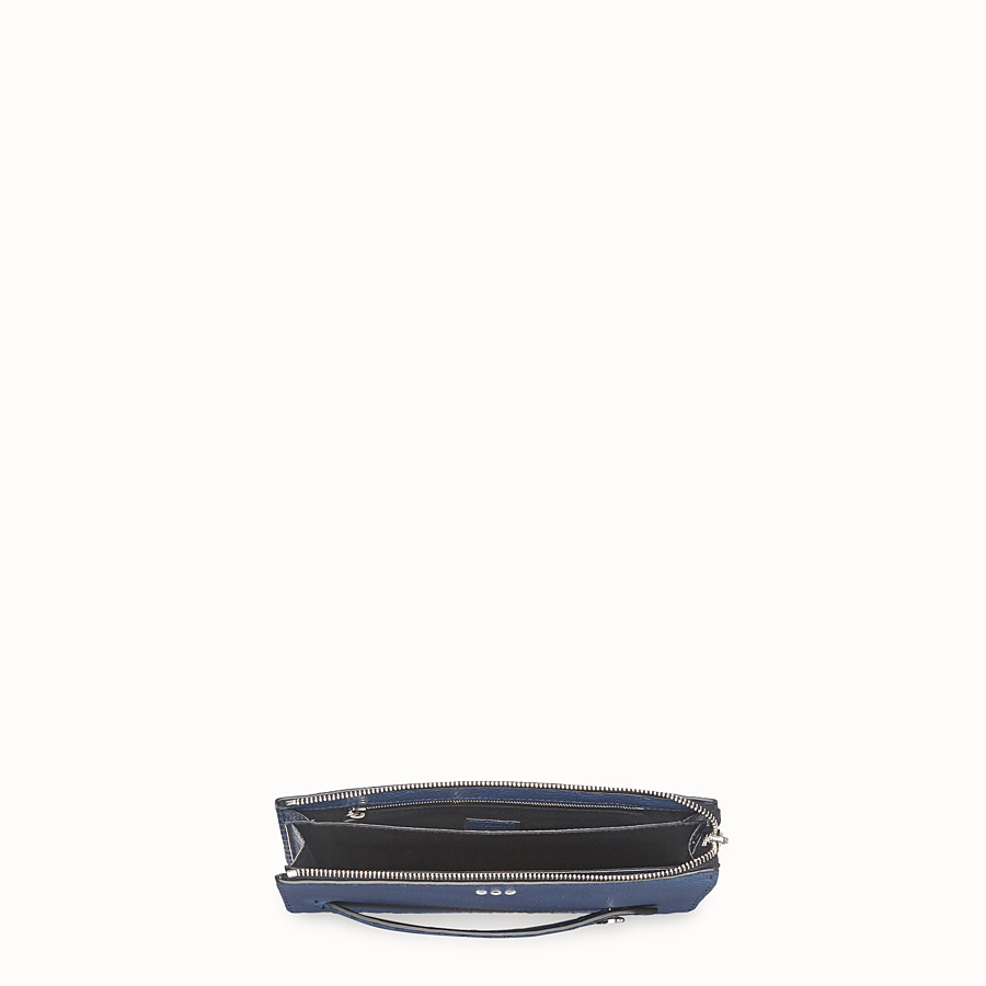 FENDI CLUTCH - Blue leather slim pouch - view 4 detail
