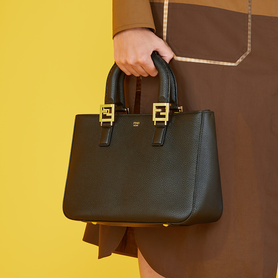 FENDI FF TOTE SMALL - Black leather bag - view 2 detail