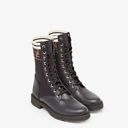 FENDI ANKLE BOOTS - Black leather biker boots - view 4 thumbnail