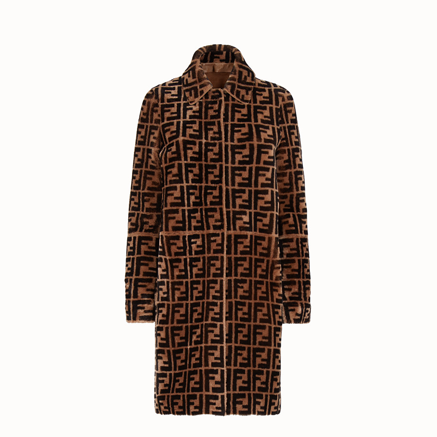 FENDI OVERCOAT - Brown shearling coat - view 1 detail