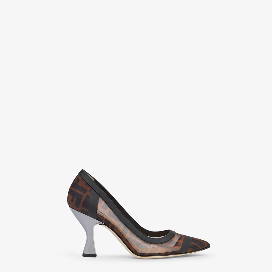FENDI COURT SHOES - Mesh and black leather court shoes - view 1 detail