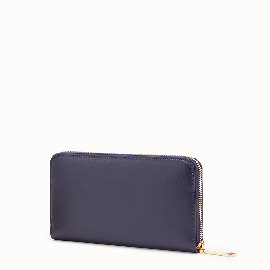 FENDI ZIP-AROUND - Blue leather wallet - view 2 detail