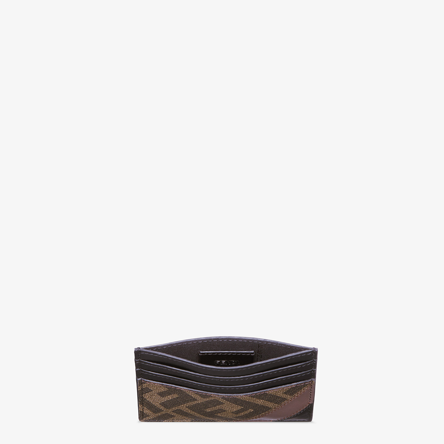 FENDI CARD HOLDER - Brown fabric card holder - view 3 detail