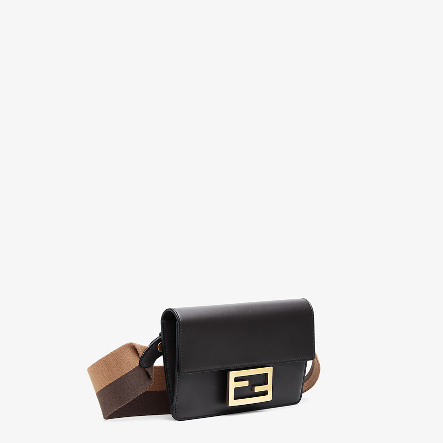 FENDI FLAT BAGUETTE - Black leather mini bag - view 3 detail