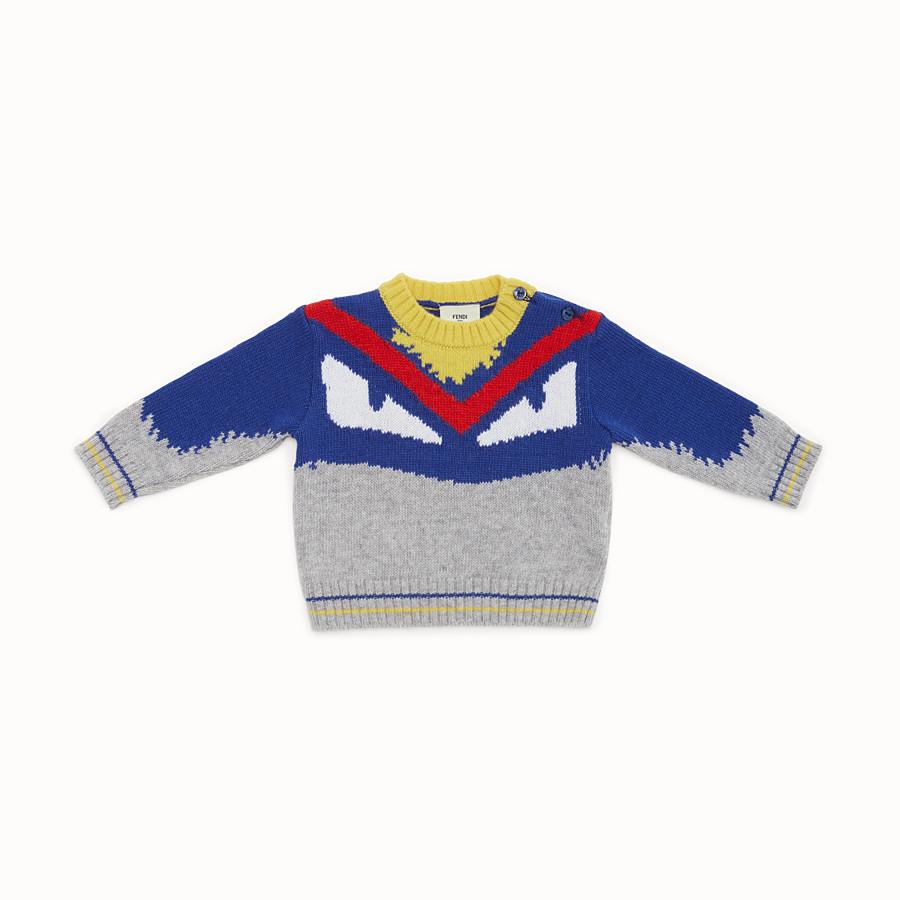 FENDI JUMPER - Pull pour bébé garçon en laine mélangée grise et multicolore - view 1 detail