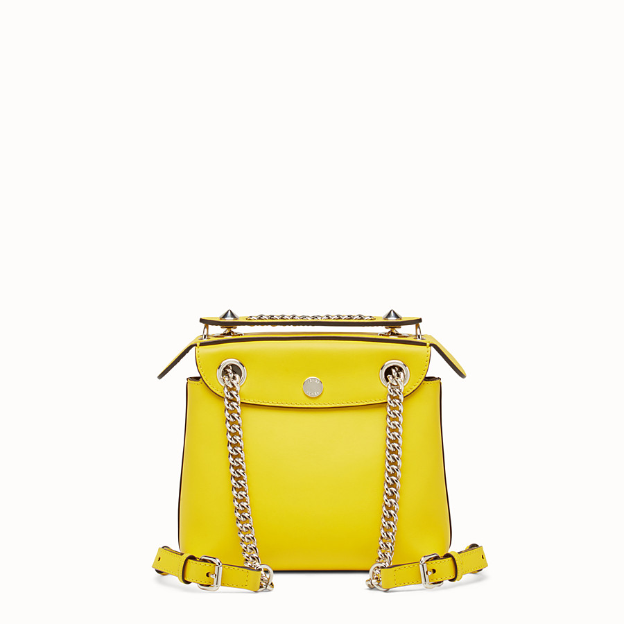 FENDI MINI BACK TO SCHOOL BACKPACK - Mini backpack in yellow leather - view 3 detail