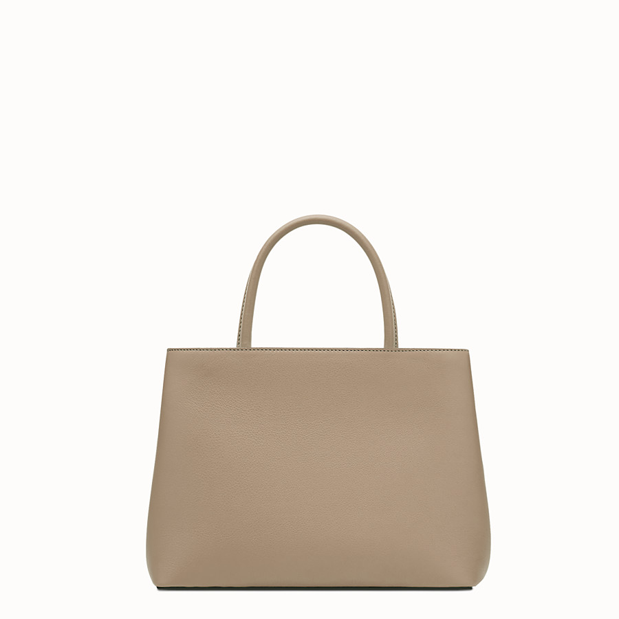 FENDI PETITE 2JOURS - Dove-grey leather shopper bag - view 3 detail