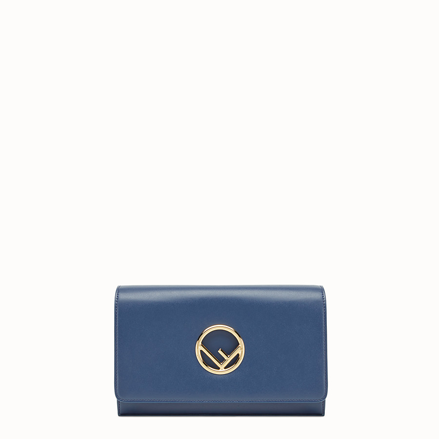 FENDI WALLET ON CHAIN - Dark blue leather mini-bag - view 1 detail