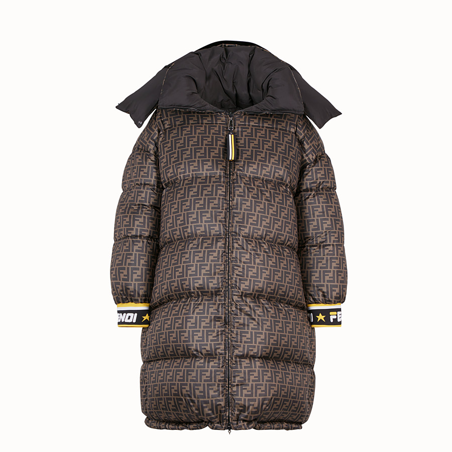 FENDI LONG DOWN JACKET - Multicolour padded down jacket - view 4 detail