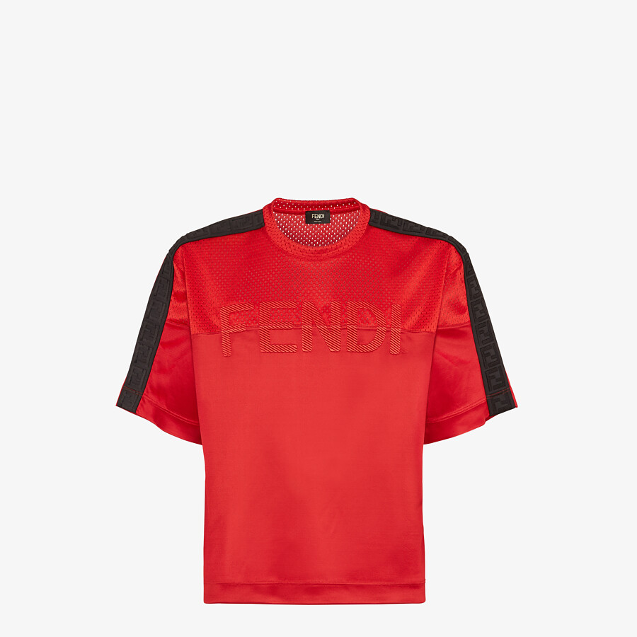 FENDI T-SHIRT - Red tech fabric T-shirt - view 1 detail