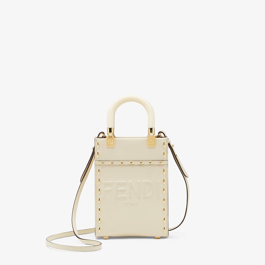 FENDI MINI SUNSHINE SHOPPER - White leather mini bag - view 1 detail