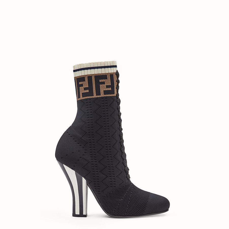 FENDI BOOTS - Black fabric ankle boots - view 1 detail