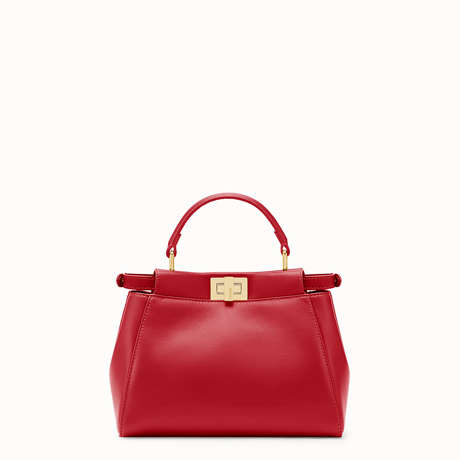 FENDI PEEKABOO ICONIC MINI - Tasche aus Leder in Rot - view 3 detail
