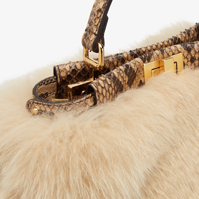 FENDI PEEKABOO ICONIC MINI - Beige fox fur and python bag - view 6 detail