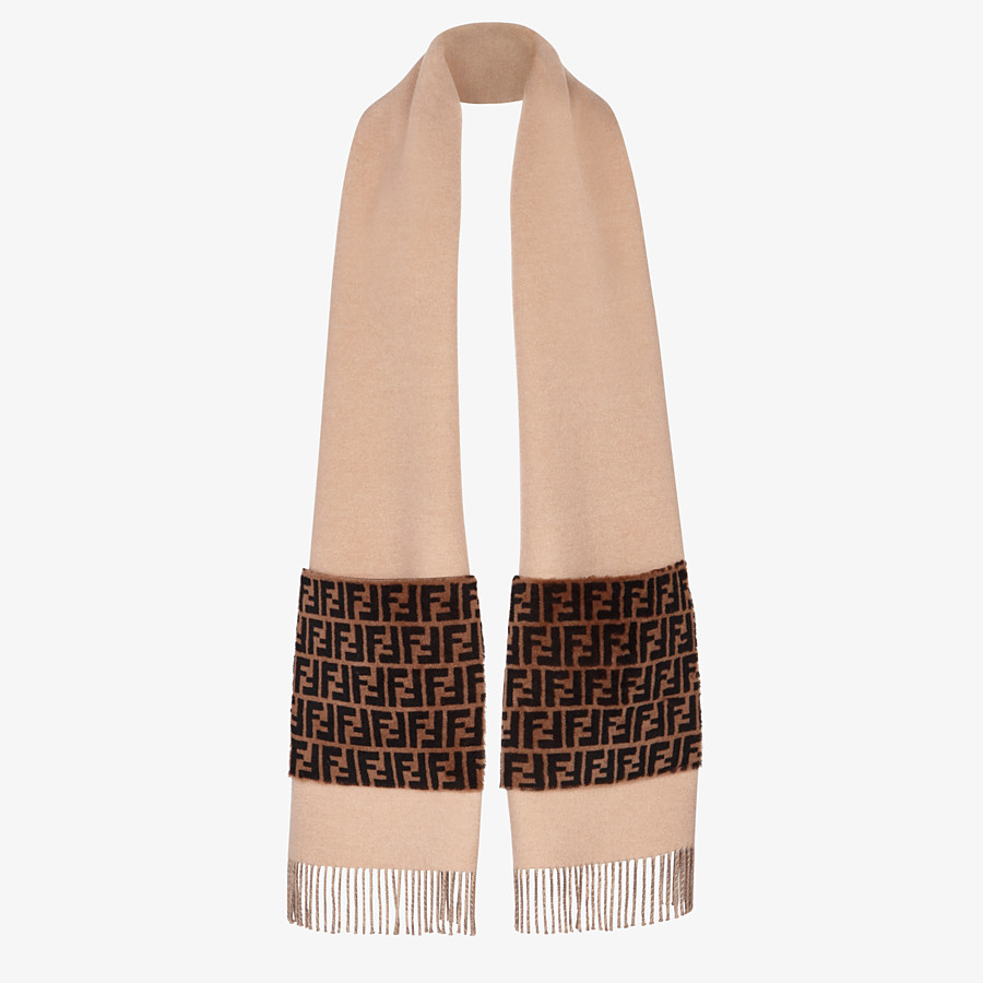 FENDI TOUCH OF FUR SCARF - Beige wool and cashmere scarf - view 2 detail