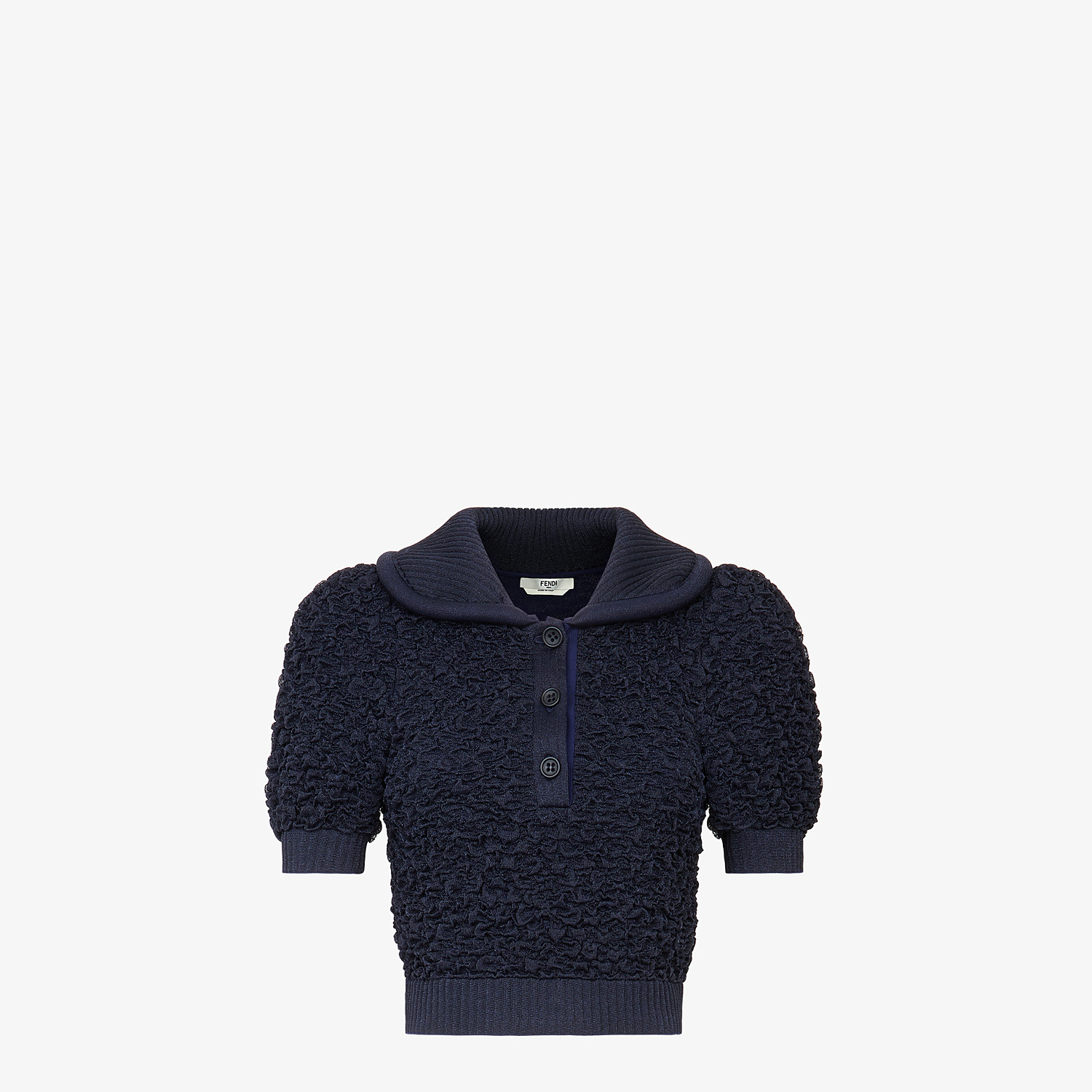 FENDI PULLOVER - Blue viscose polo shirt - view 1 detail