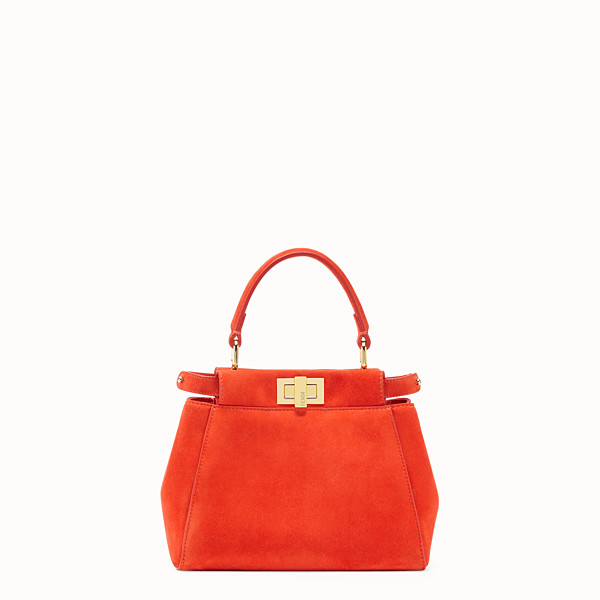 FENDI PEEKABOO XS - Mini-Tasche aus Veloursleder in Rot - view 1 small thumbnail