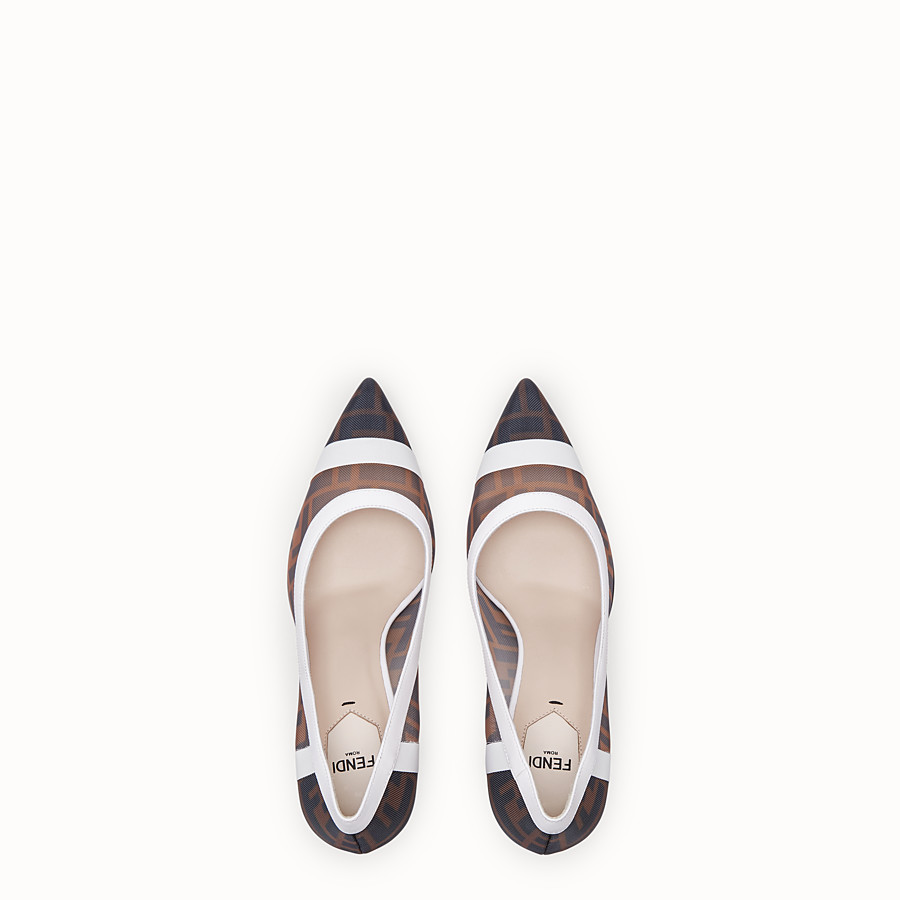 FENDI COURT SHOES - Mesh and white leather court shoes - view 4 detail