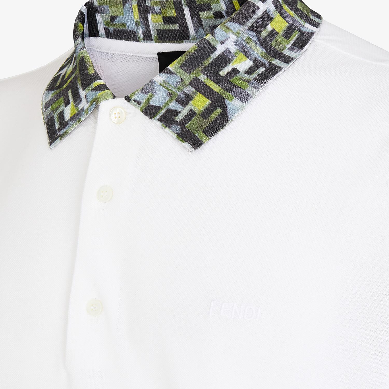 FENDI T-SHIRT - White cotton polo shirt - view 3 detail