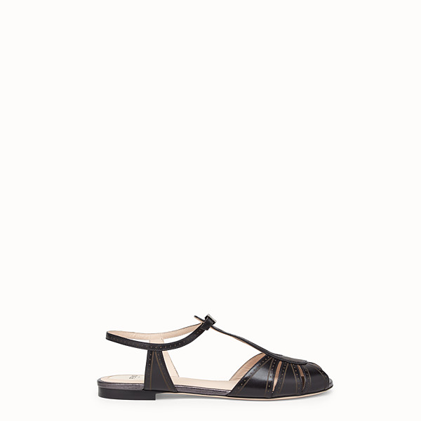 FENDI SANDALS - Black leather flats - view 1 small thumbnail