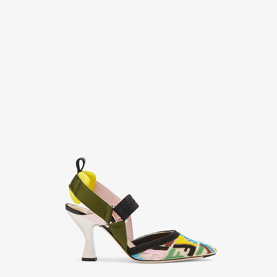 FENDI COLIBRÌ - High-heeled slingbacks with multicolor beads - view 1 detail