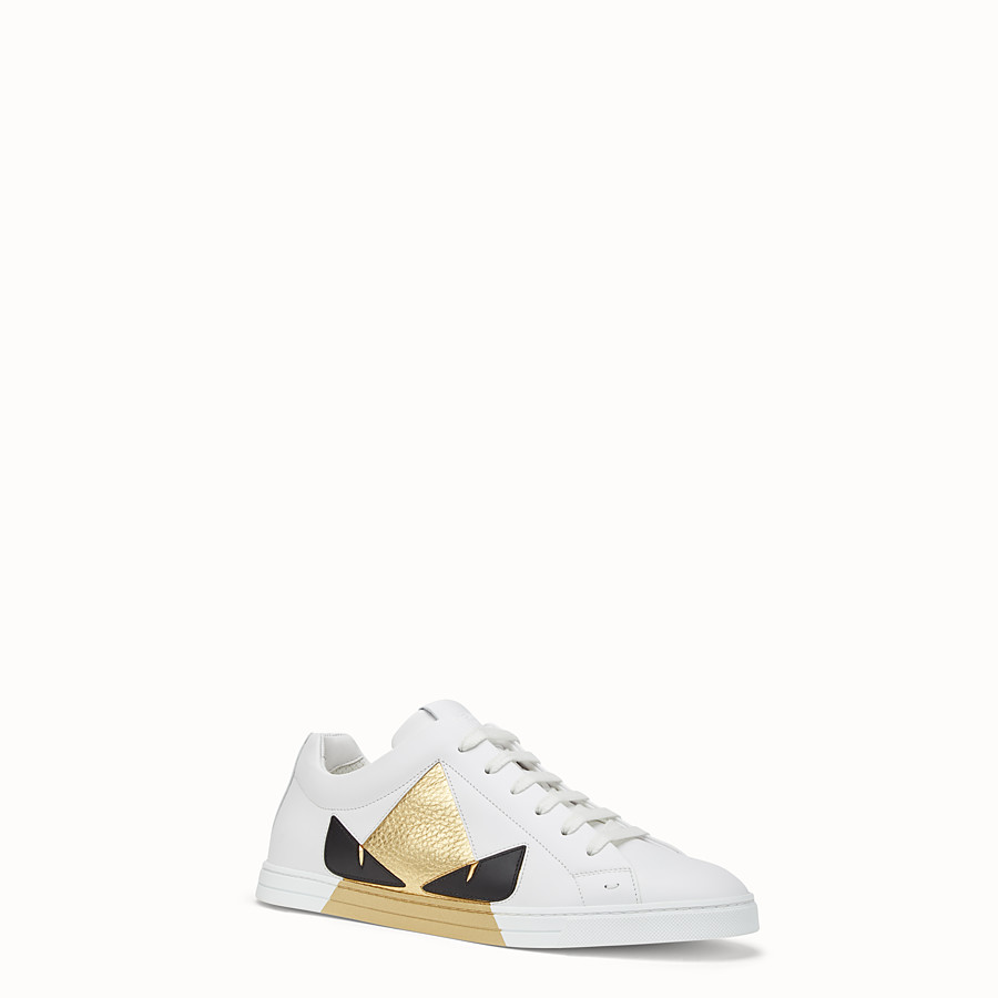 FENDI SNEAKERS - Chaussures basses en cuir blanc - view 2 detail