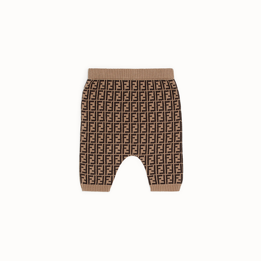 FENDI TROUSERS - Tobacco cotton and cashmere baby trousers - view 2 detail