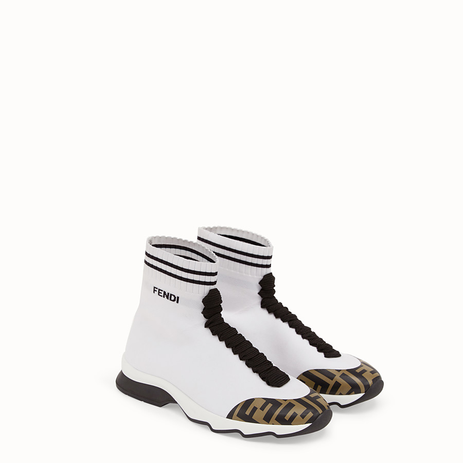 FENDI SNEAKERS - White fabric sneaker boots - view 4 detail