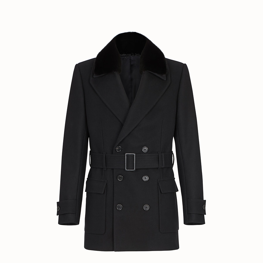FENDI PEA COAT - Mantel aus Tuch Schwarz - view 1 detail