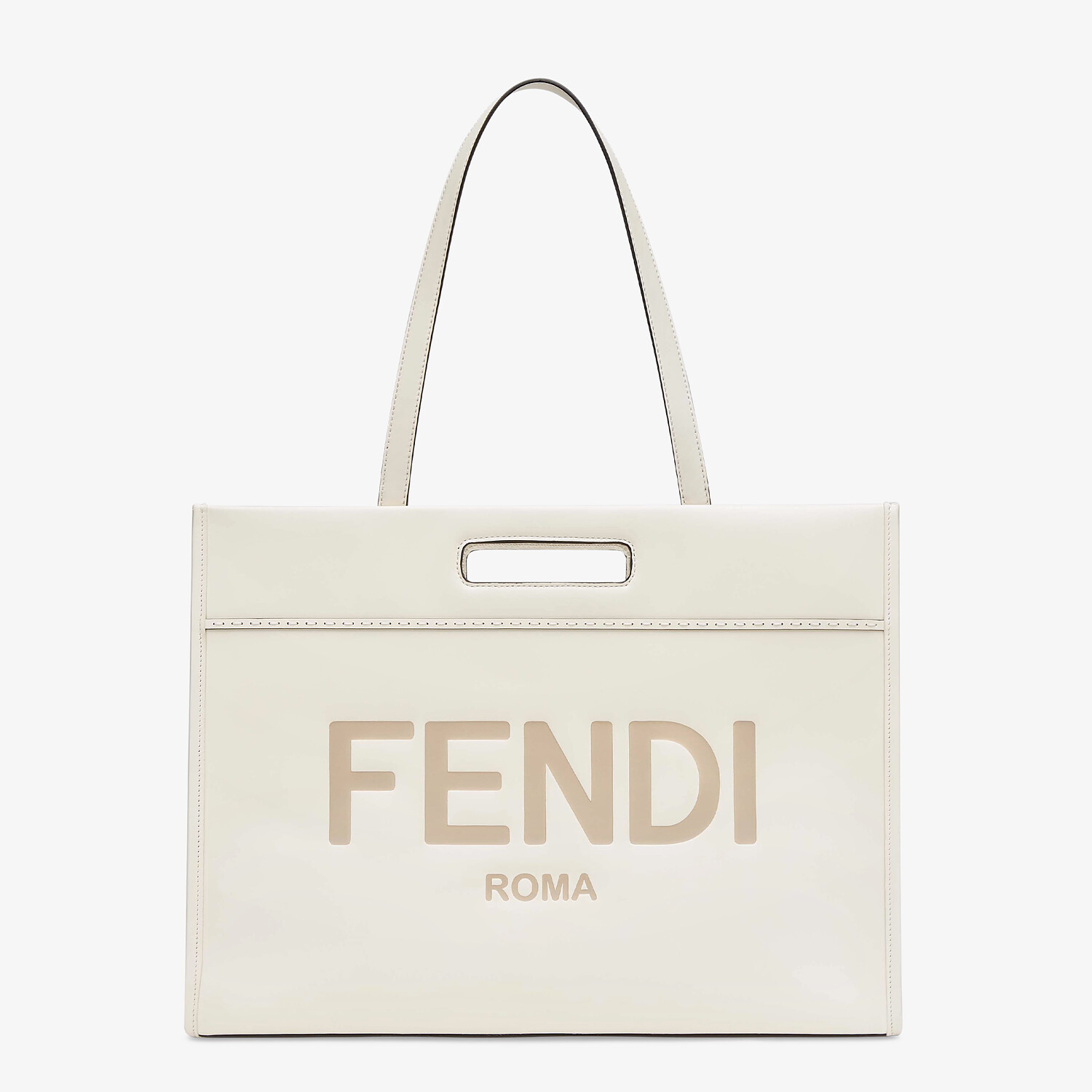 FENDI SHOPPING BAG - White leather shopper - view 2 detail