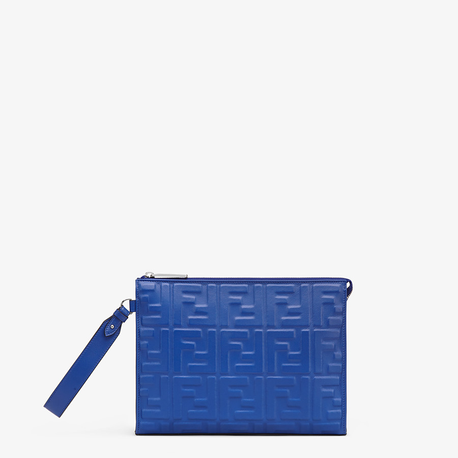FENDI FLAT POUCH - Blue nappa leather pouch - view 1 detail