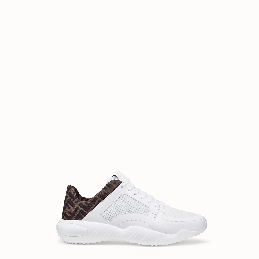 FENDI SNEAKERS - White tech mesh and leather low-tops - view 1 detail