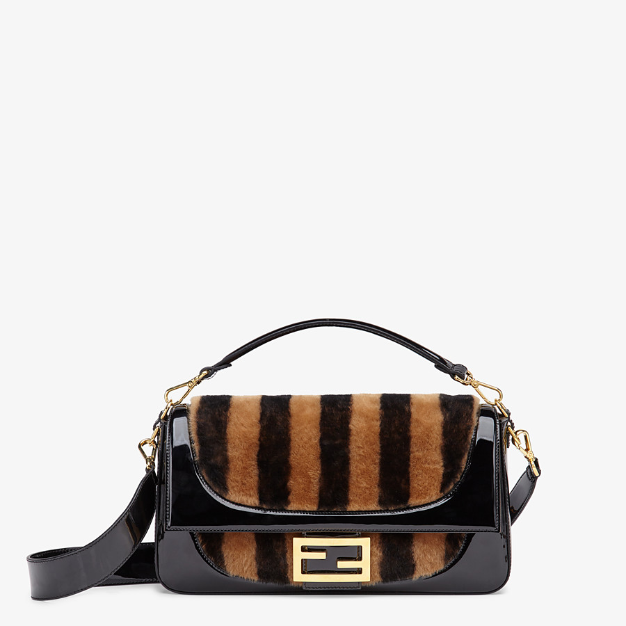 FENDI BAGUETTE LARGE - Multicolour, patent leather and sheepskin bag - view 1 detail
