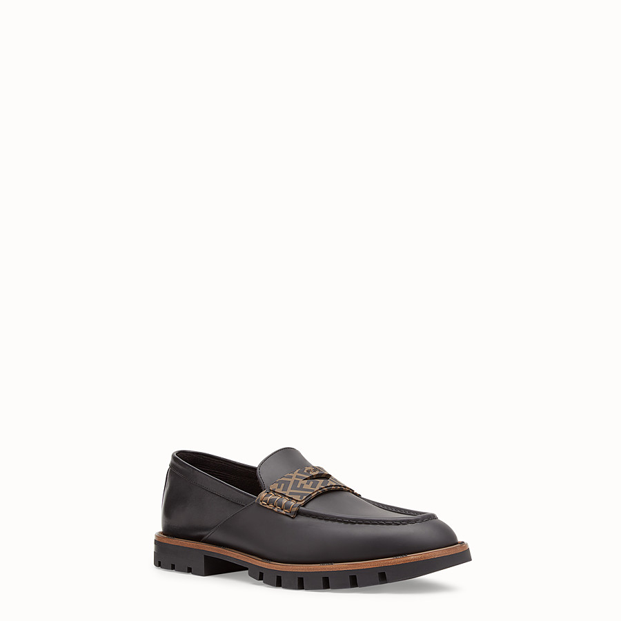 FENDI LOAFERS - Black leather and TPU loafers - view 2 detail