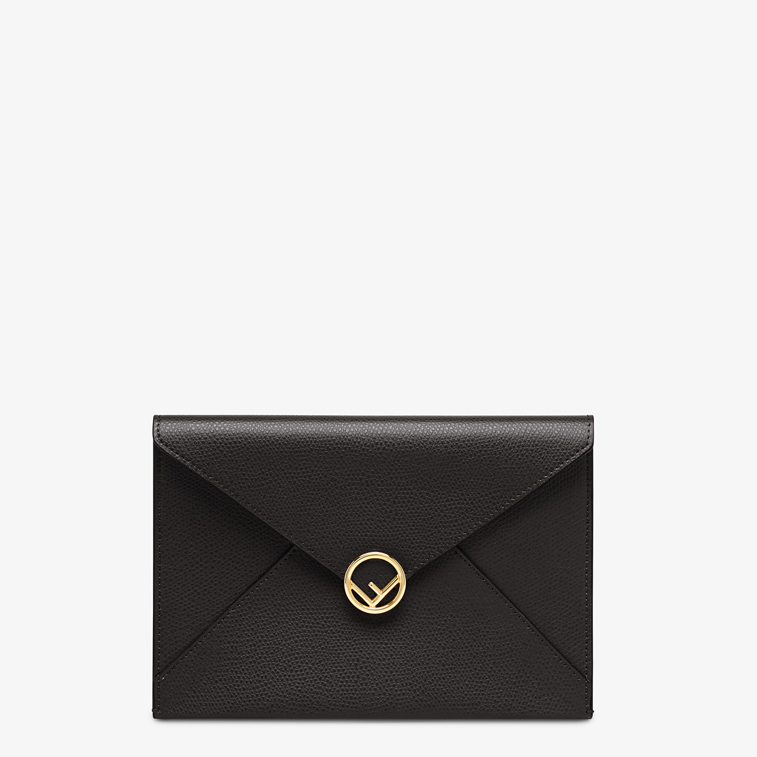 FENDI MEDIUM FLAT POUCH - Black leather pouch - view 1 detail