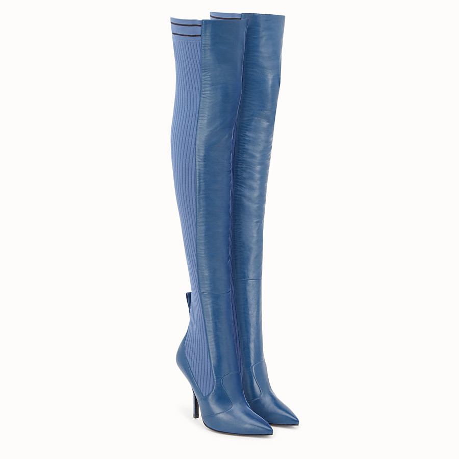 FENDI BOOTS - Blue leather thigh-high boots - view 4 detail