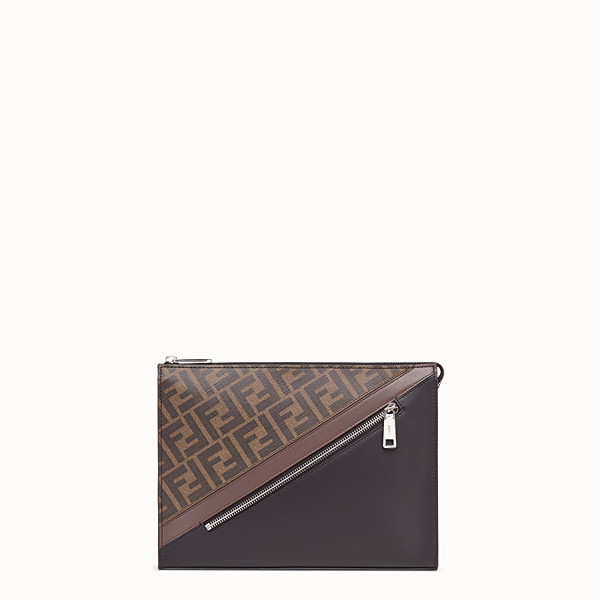 FENDI CLUTCH - Brown fabric pochette - view 1 small thumbnail