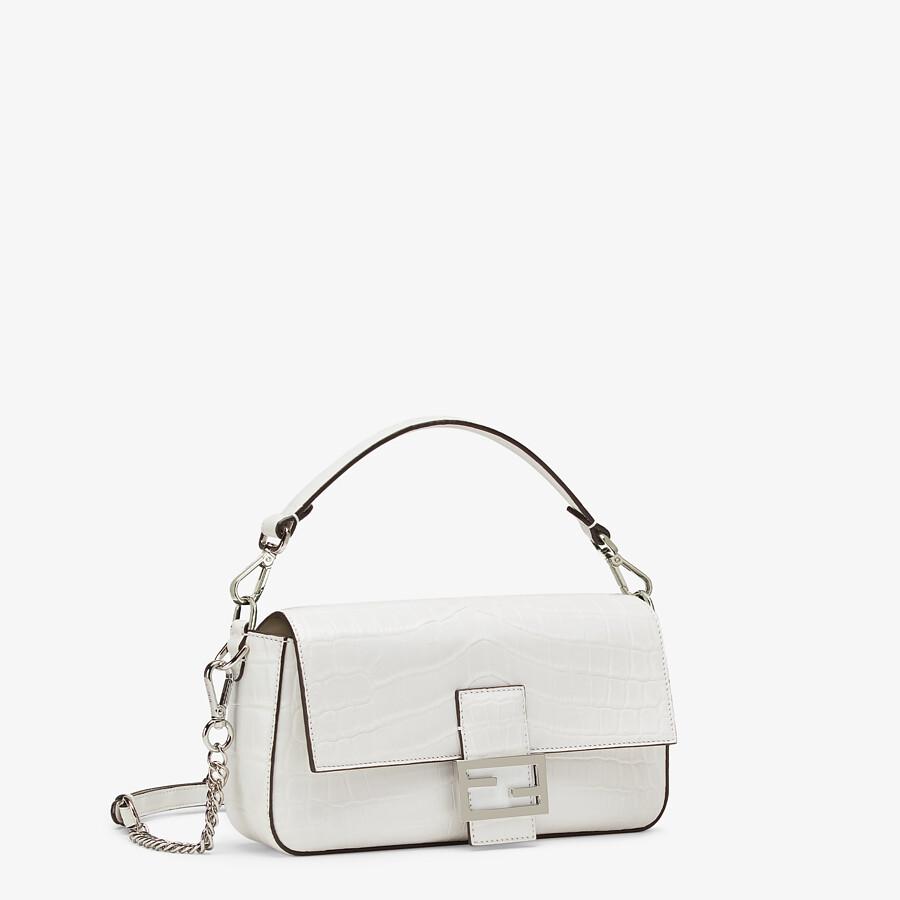 FENDI BAGUETTE - White crocodile leather bag - view 2 detail