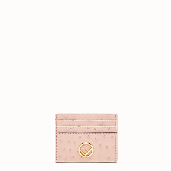 FENDI CARD HOLDER - Pink ostrich leather flat card holder - view 1 small thumbnail