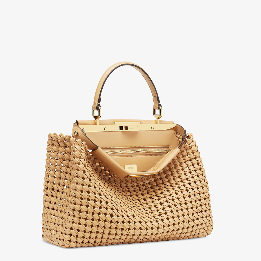 FENDI PEEKABOO ICONIC MEDIUM - Beige leather interlace bag - view 3 detail