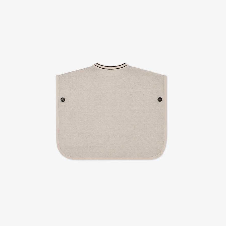FENDI KNIT CAPE - Beige cotton and cashmere and FF logo reversible baby cape - view 2 detail