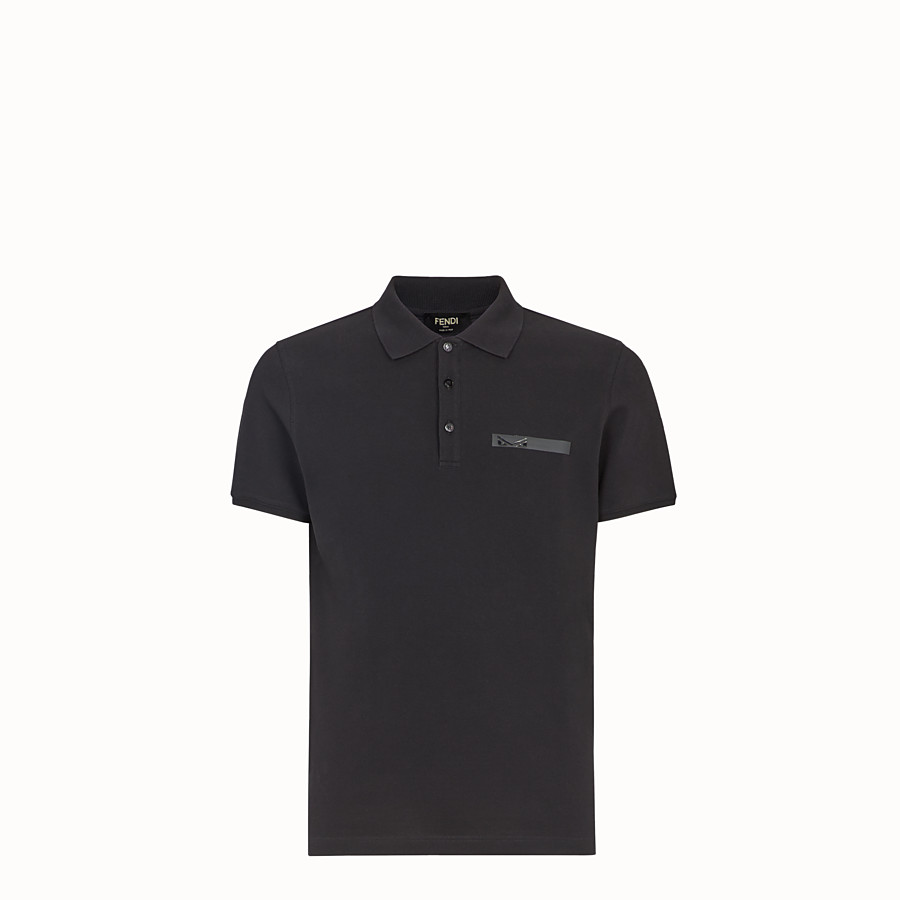 FENDI T-SHIRT - Black cotton polo shirt - view 1 detail
