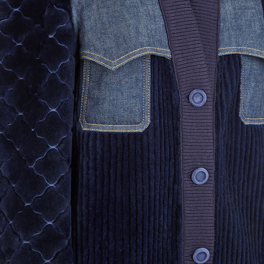FENDI JACKET - Blue shearling and denim jacket - view 3 detail