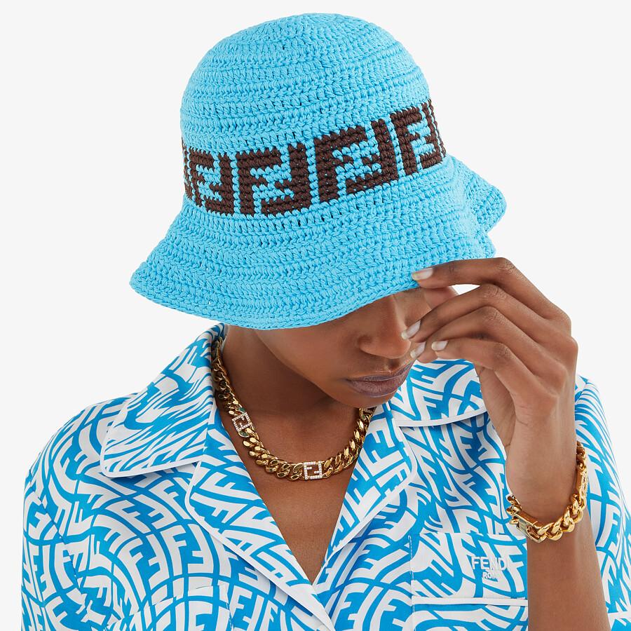 FENDI HAT - Light blue cotton hat - view 3 detail