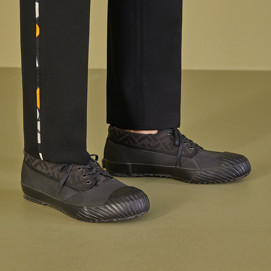 FENDI FENDI AND MOONSTAR SNEAKERS - Low-tops in canvas and black rubber - view 5 detail