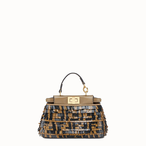 FENDI MICRO PEEKABOO - Beige leather micro-bag - view 1 small thumbnail