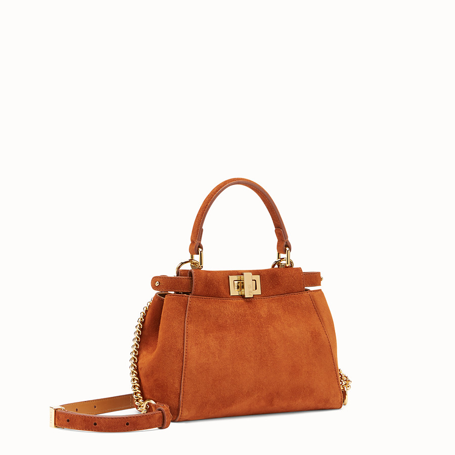 FENDI PEEKABOO XS - Brown suede minibag - view 2 detail
